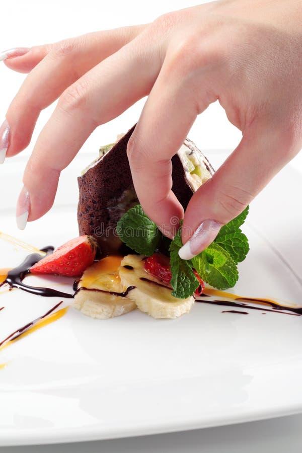 Download Chocolate Pancakes stock photo. Image of indulgence, green - 8128148