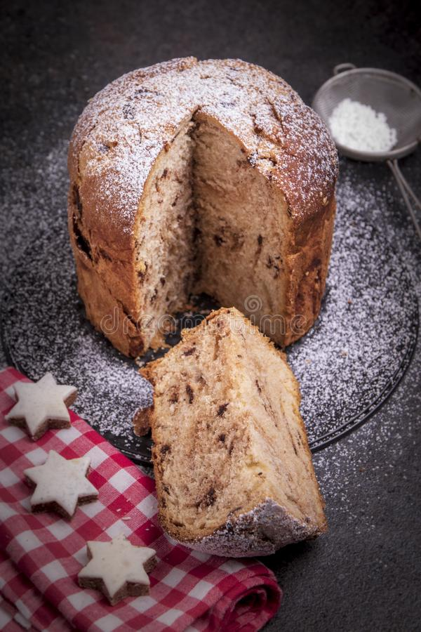Chocolate panettone. Panettone is the traditional Italian dessert for Christmas. royalty free stock photo