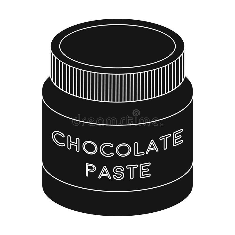 Chocolate paste icon in black style isolated on white background. Chocolate desserts symbol stock vector illustration. Chocolate paste icon in black design stock illustration