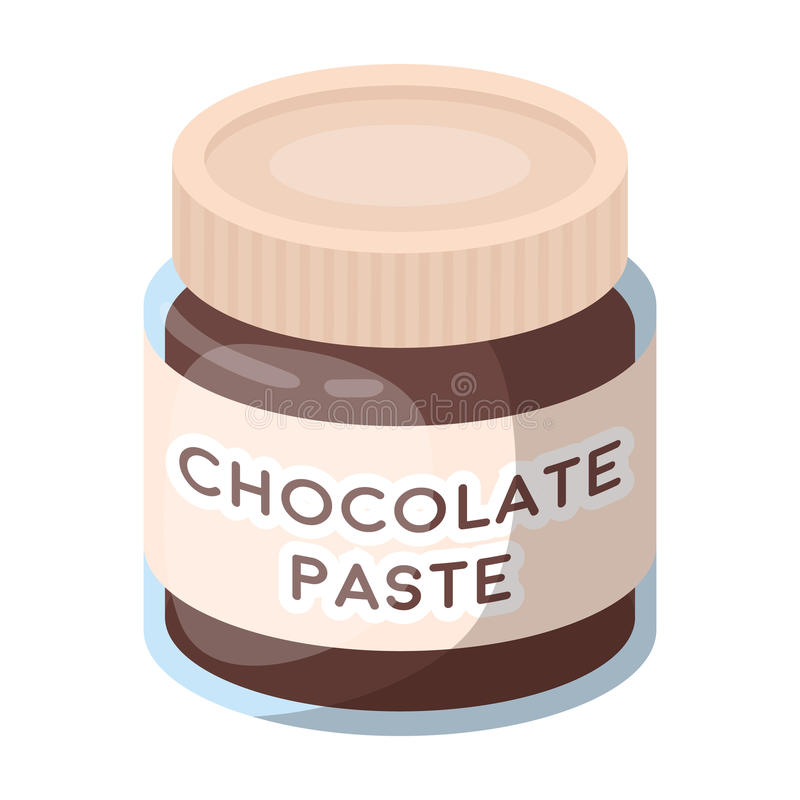 Chocolate paste icon in cartoon style isolated on white background. Chocolate desserts symbol stock vector illustration. Chocolate paste icon in cartoon design stock illustration