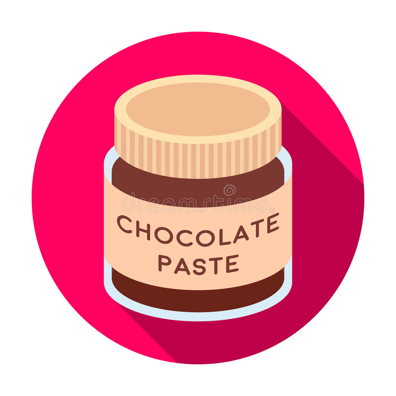 Chocolate paste icon in flat style isolated on white background. Chocolate desserts symbol stock vector illustration. Chocolate paste icon in flat design royalty free illustration
