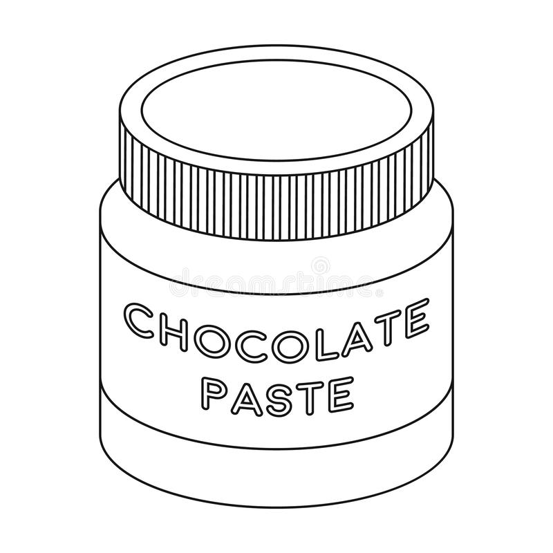 Chocolate paste icon in outline style isolated on white background. Chocolate desserts symbol stock vector illustration. Chocolate paste icon in outline design royalty free illustration