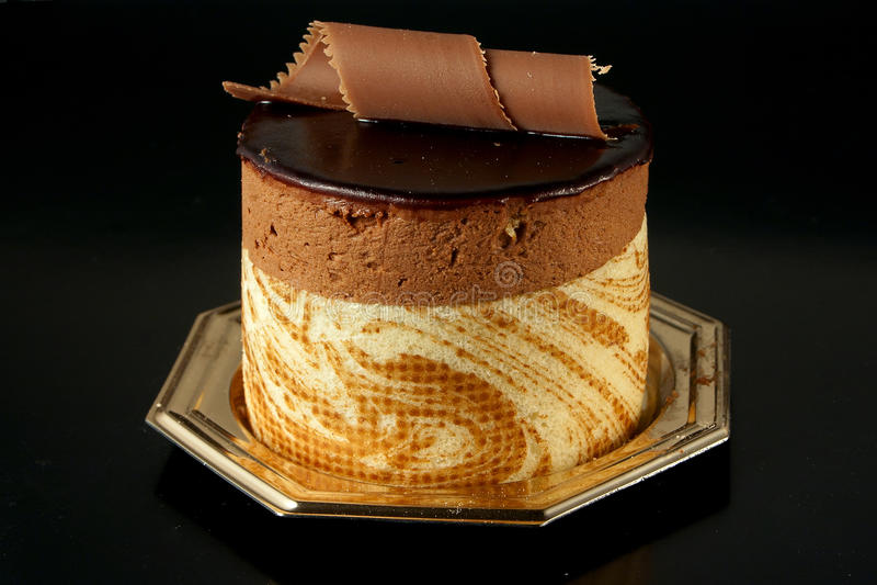 Chocolate Pastry on black background stock photo