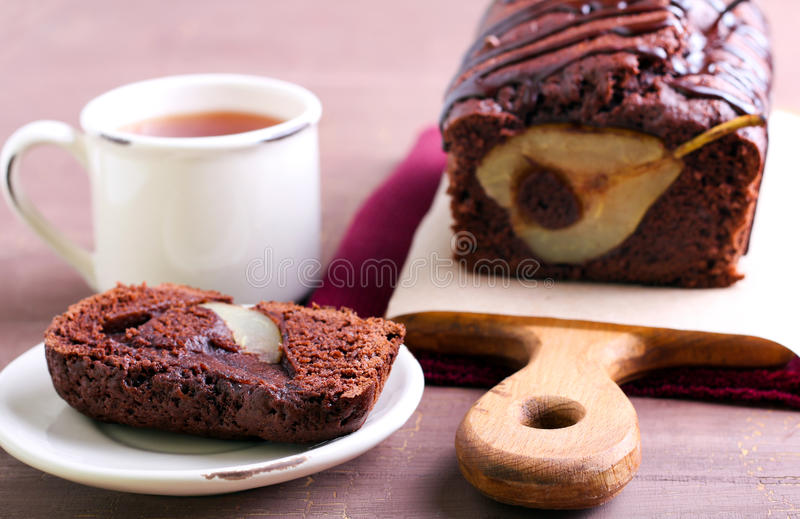 Chocolate Pear Loaf Cake Stock Image Of Baked 58257247