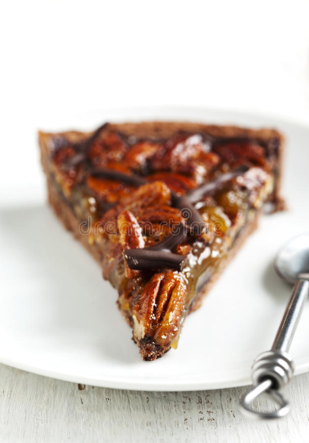 Chocolate Pecan Pie. Shallow depth of field royalty free stock photography