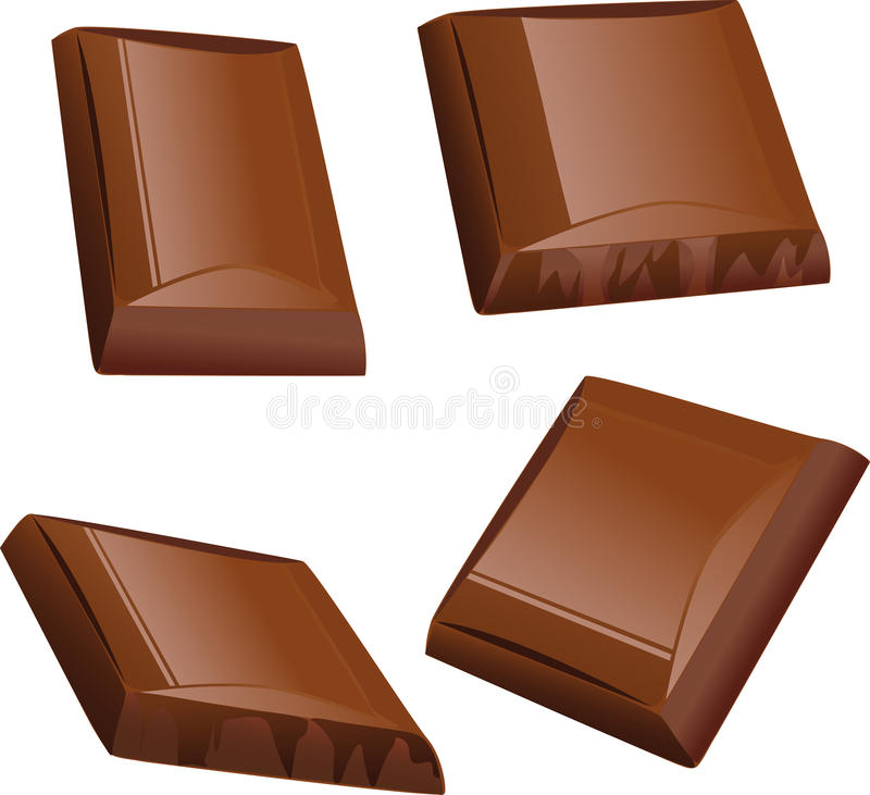 Chocolate piece. Isolated on white royalty free illustration