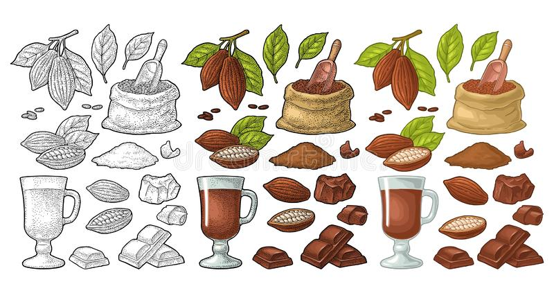 Chocolate piece, bar and shave. Vector vintage black engraving. Chocolate piece, bar, shave. Fruits of cocoa with leaves and beans. Vector vintage black and stock illustration