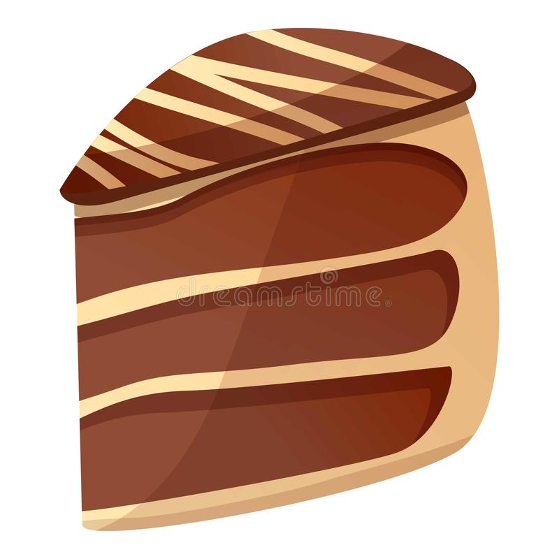 Chocolate piece cake icon, cartoon style. Chocolate piece cake icon. Cartoon of chocolate piece cake vector icon for web design isolated on white background royalty free illustration