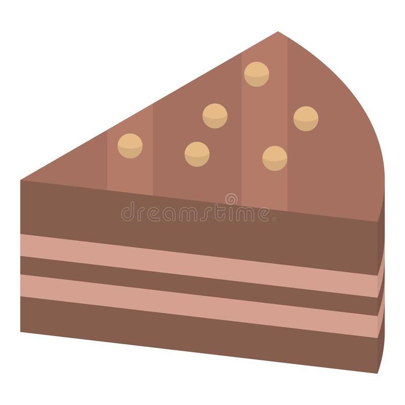 Chocolate piece cake icon, isometric style. Chocolate piece cake icon. Isometric of chocolate piece cake vector icon for web design isolated on white background vector illustration