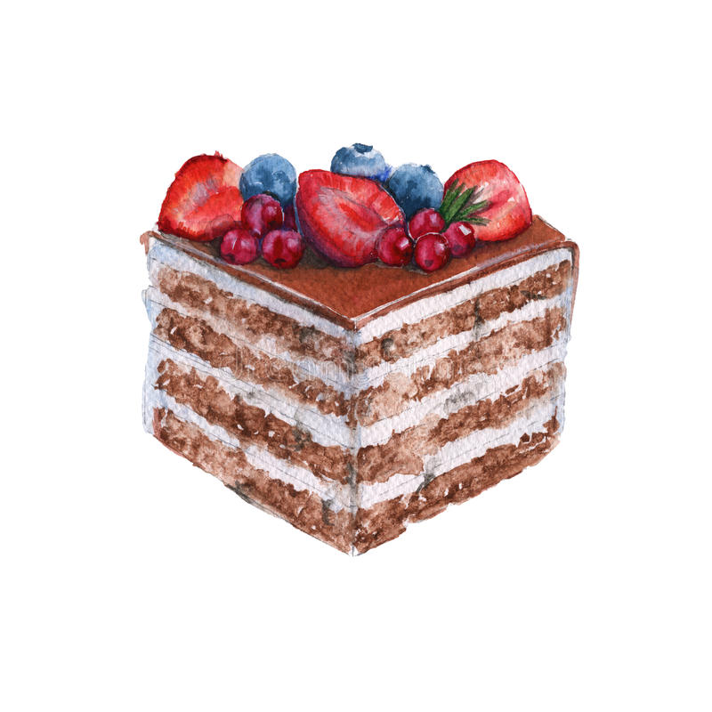 Chocolate piece of cake. solated on a white background. Watercolor illustration. Chocolate piece of cake. With the berries. Isolated on a white background stock illustration