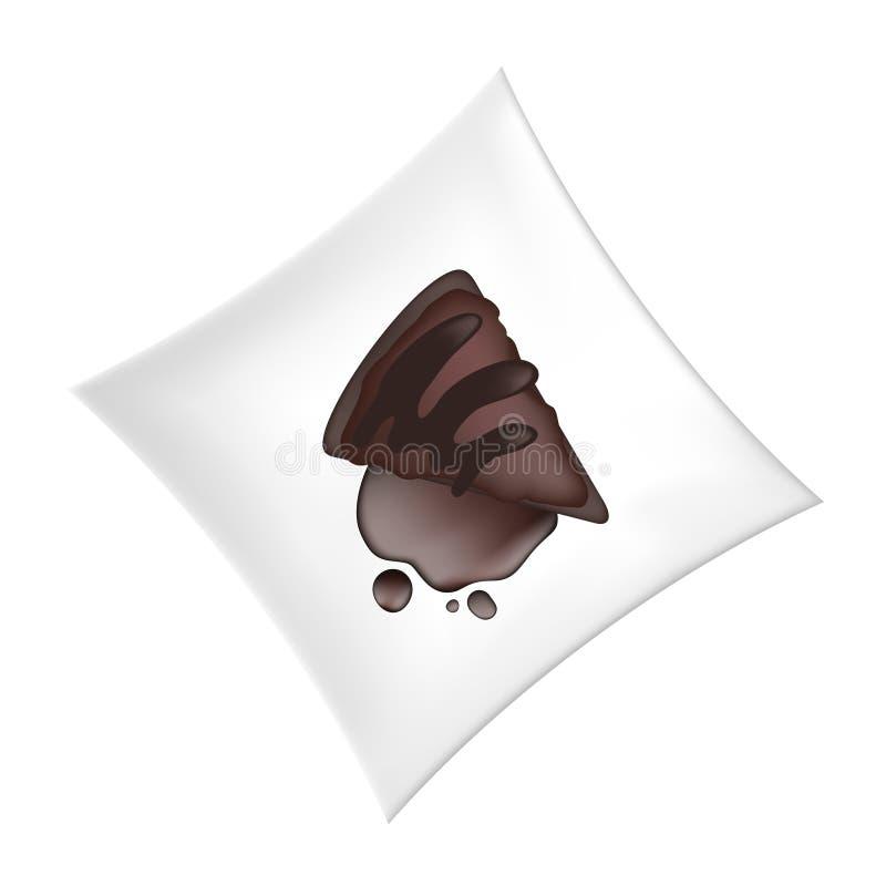 Chocolate piece in ceramic plate. Creative design of chocolate piece in ceramic plate royalty free illustration