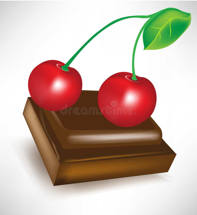 Chocolate piece with cherry. On top stock illustration