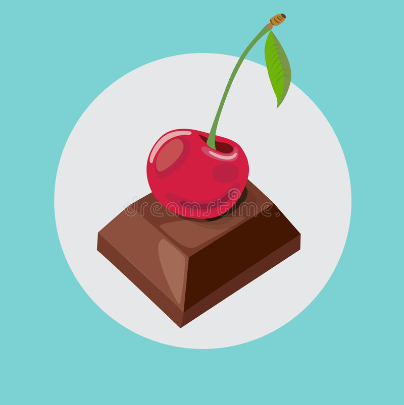 Chocolate piece with cherry fruit on top. Flat design stock illustration