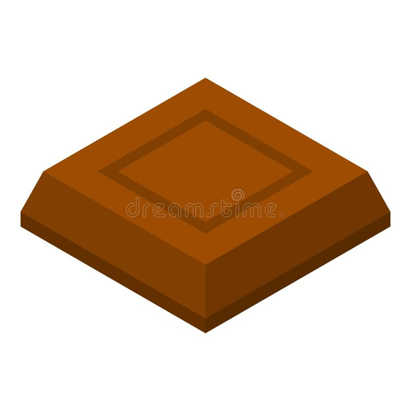 Chocolate piece icon, isometric style. Chocolate piece icon. Isometric of chocolate piece vector icon for web design isolated on white background royalty free illustration
