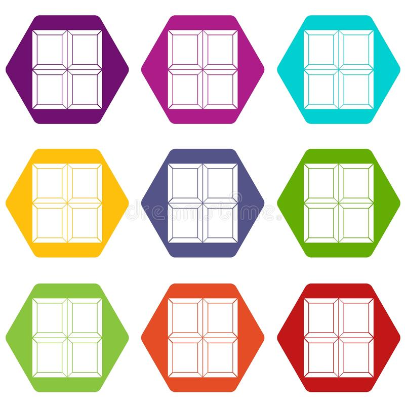Chocolate piece icon set color hexahedron. Chocolate piece icon set many color hexahedron isolated on white vector illustration stock illustration