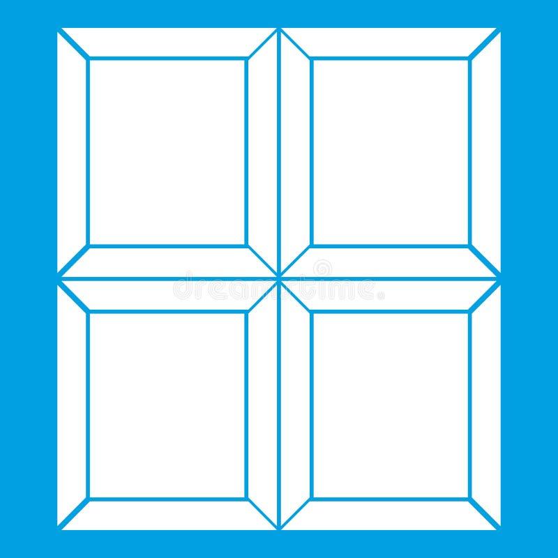 Chocolate piece icon white. Isolated on blue background vector illustration stock illustration