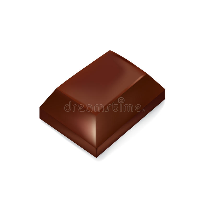 Chocolate piece isolated on white. Background vector illustration