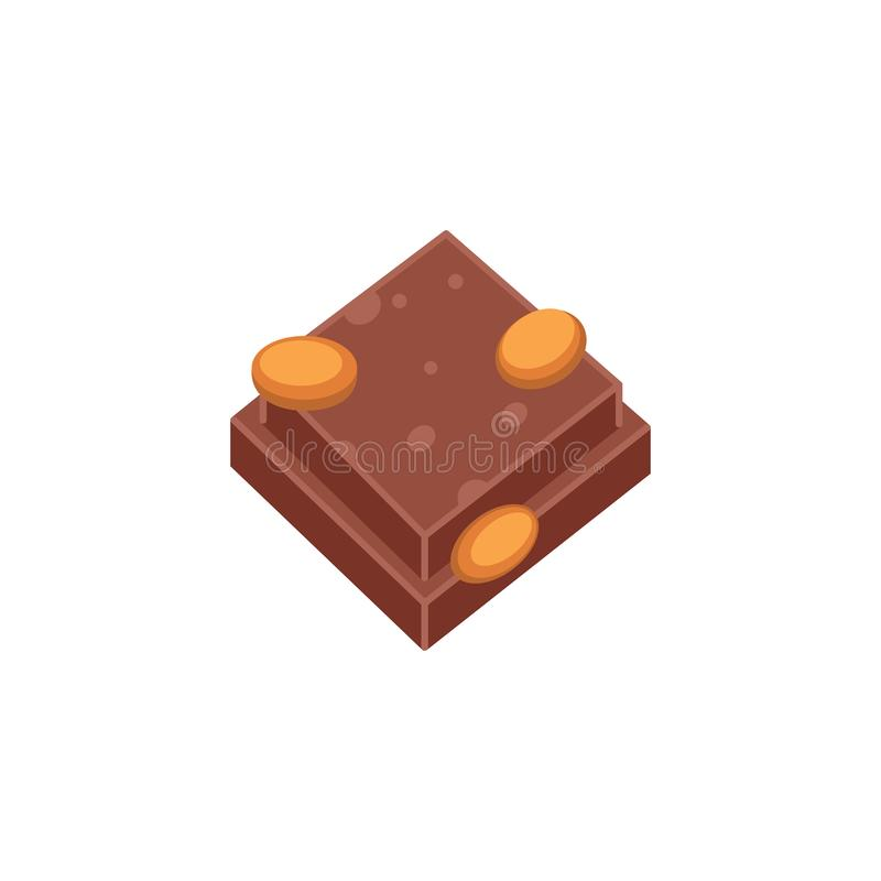 Chocolate piece with nuts vector illustration in cartoon style.  stock illustration