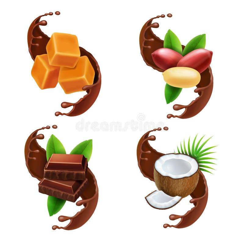 Chocolate piece, peanuts, caramel, coconut in chocolate splash realistic collection. Chocolate piece, peanuts, caramel and coconut in chocolate splash realistic stock illustration