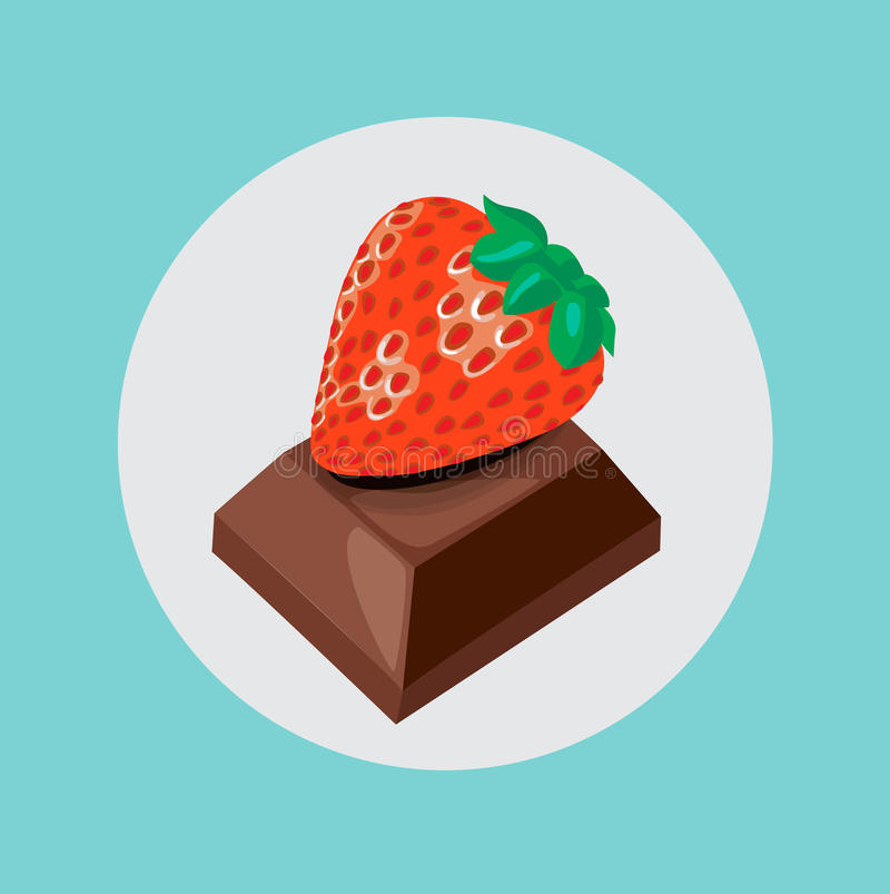 Chocolate piece with strawberry fruit on top. Flat design royalty free illustration