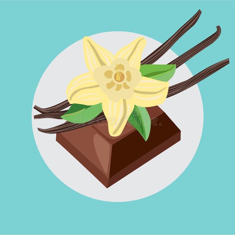Chocolate piece and vanilla flower. Flat design royalty free illustration