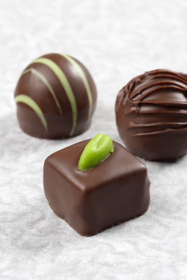 Chocolate pralines stock photo
