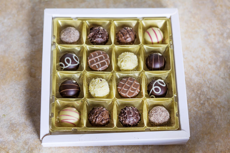 Chocolate pralines. Delicious chocolate pralines in a box royalty free stock photo