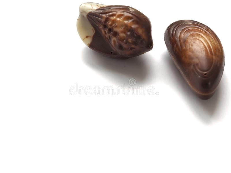 Chocolate pralines. Isolated on white background royalty free stock photography