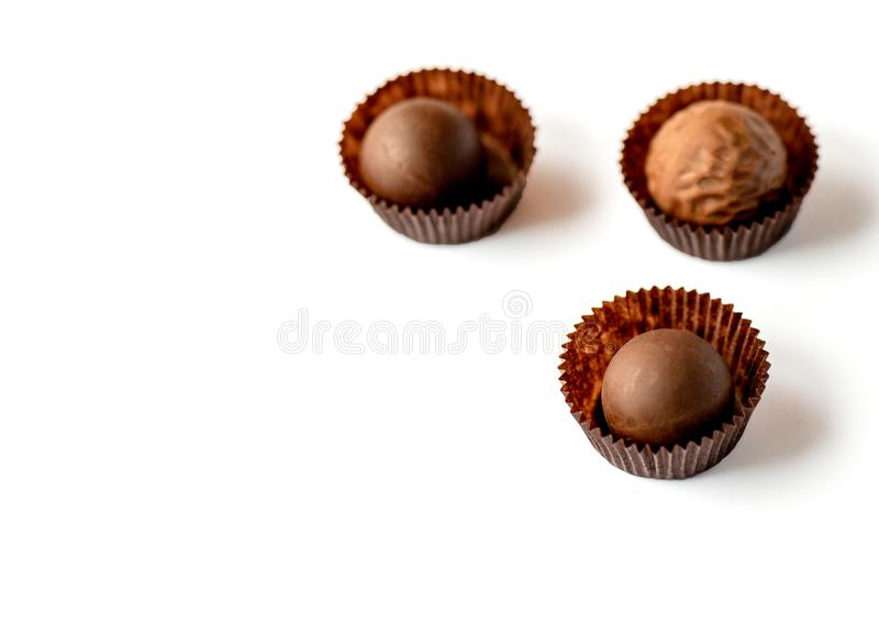 Chocolate pralines isolated. On white background stock photography