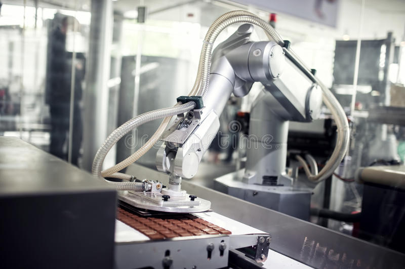 Chocolate production line in industrial factory stock photography