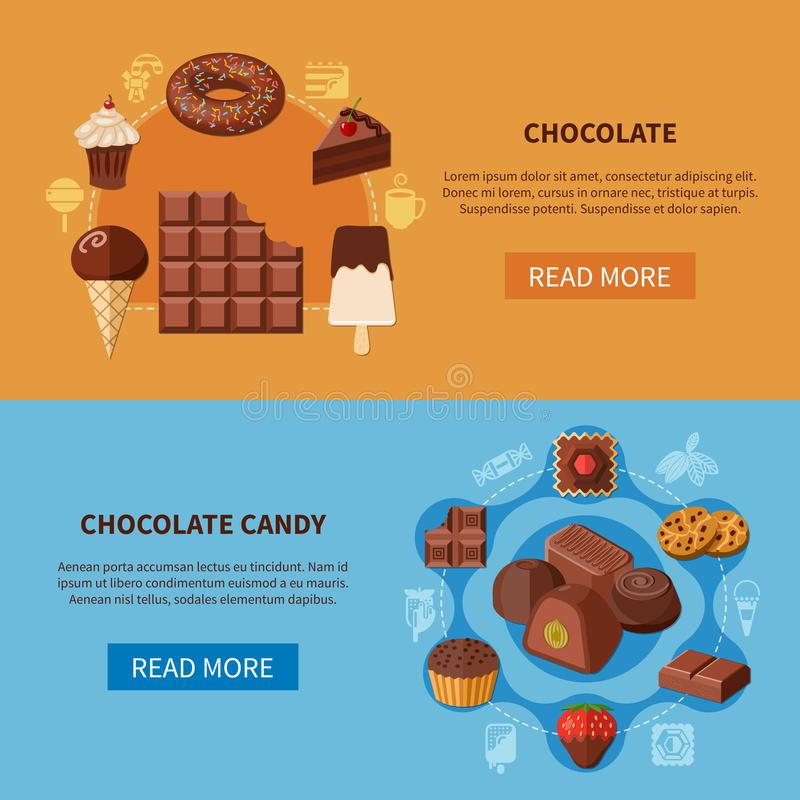 Chocolate Products Flat Banners royalty free illustration