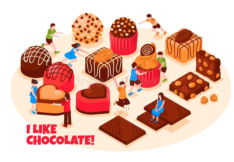 Chocolate Products Vector Illustration royalty free illustration