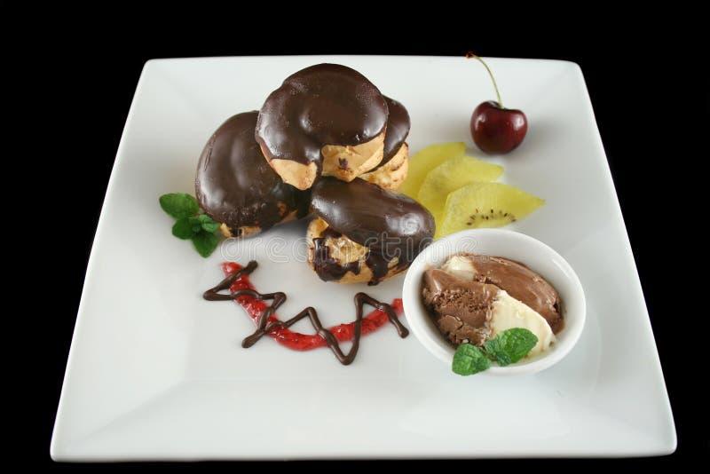 Chocolate Profiteroles 1 foto de archivo