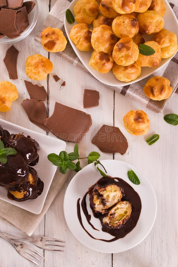 Chocolate profiteroles. stock photography