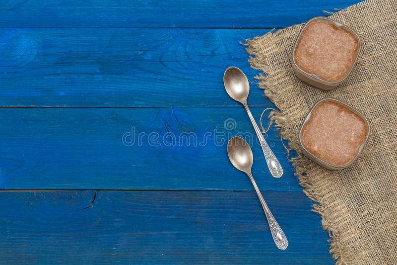 Chocolate pudding in a glass. Flat lay stock photos