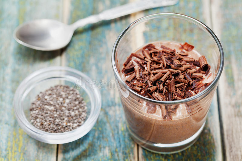 Chocolate pudding or mousse with chia seeds in glass royalty free stock photography