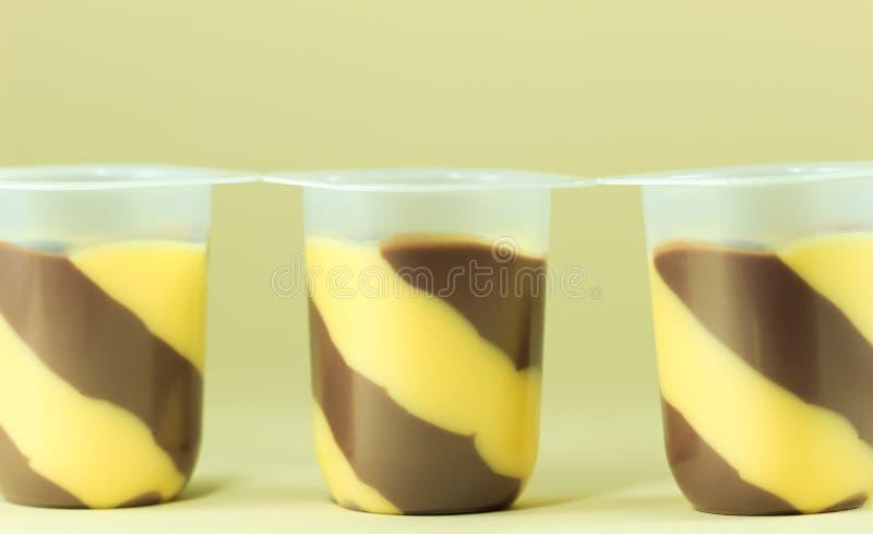 Chocolate pudding and vanilla royalty free stock image
