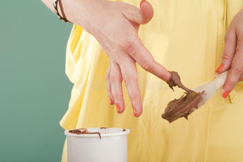 Chocolate que hiela el dedo imágenes de archivo libres de regalías