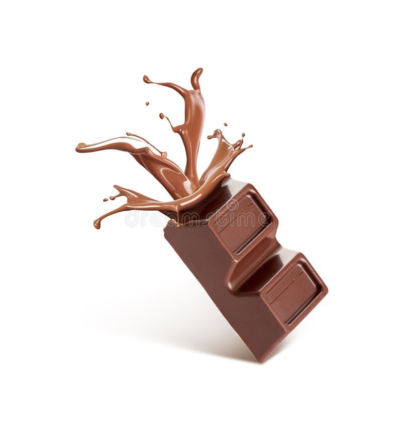 Chocolate quebrado, de que flui o chocolate imagens de stock