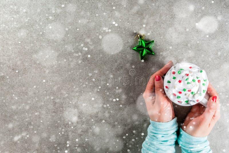 Chocolate quente bebendo do Natal da menina imagem de stock