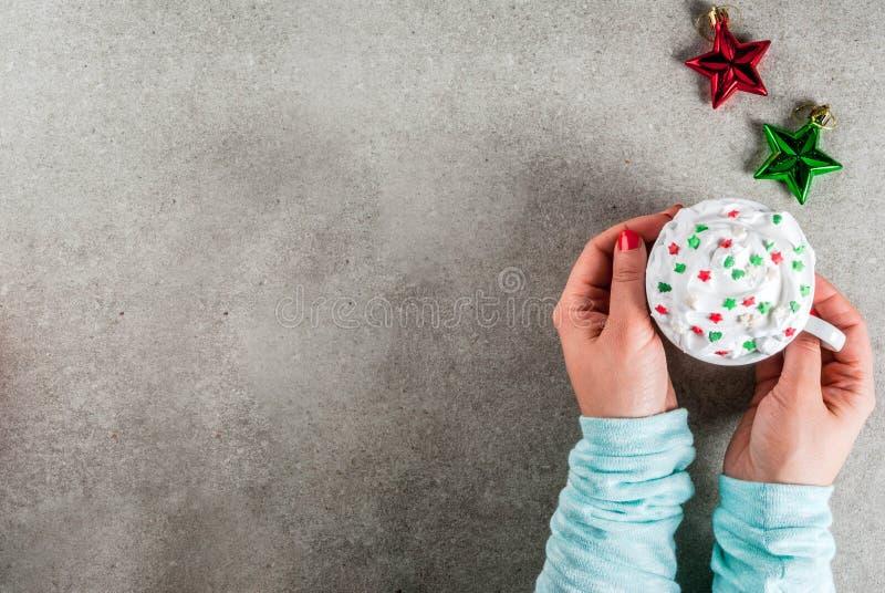 Chocolate quente bebendo do Natal da menina imagens de stock