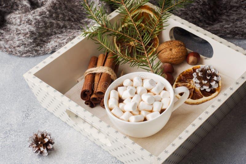 Chocolate quente com as varas de canela do marshmallow, anis, porcas na bandeja de madeira, conceito do Natal imagem de stock royalty free