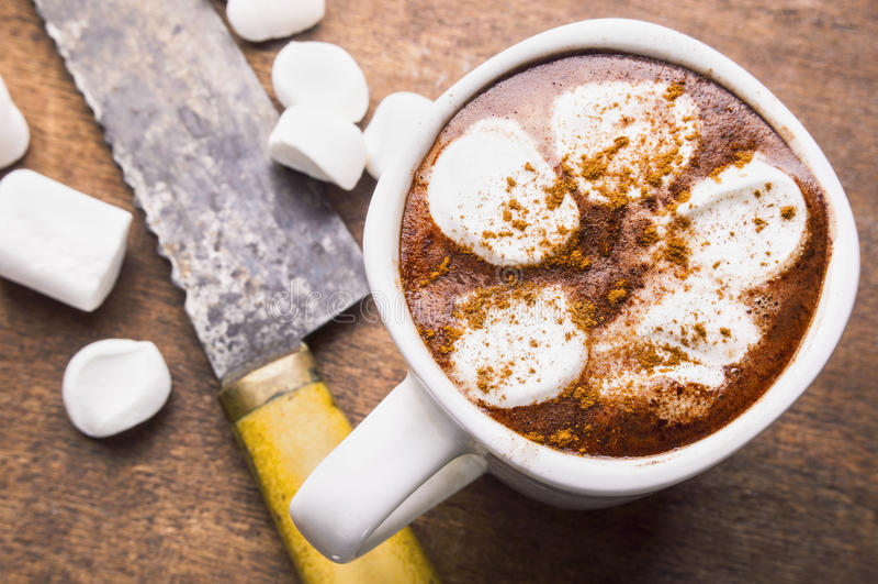 Chocolate quente com marshmallow imagens de stock royalty free