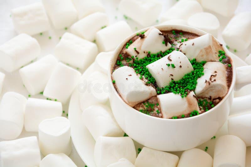 Chocolate quente com marshmallow foto de stock