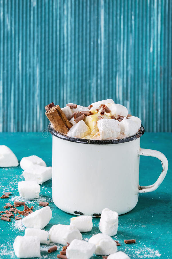 Chocolate quente com marshmallow fotos de stock royalty free