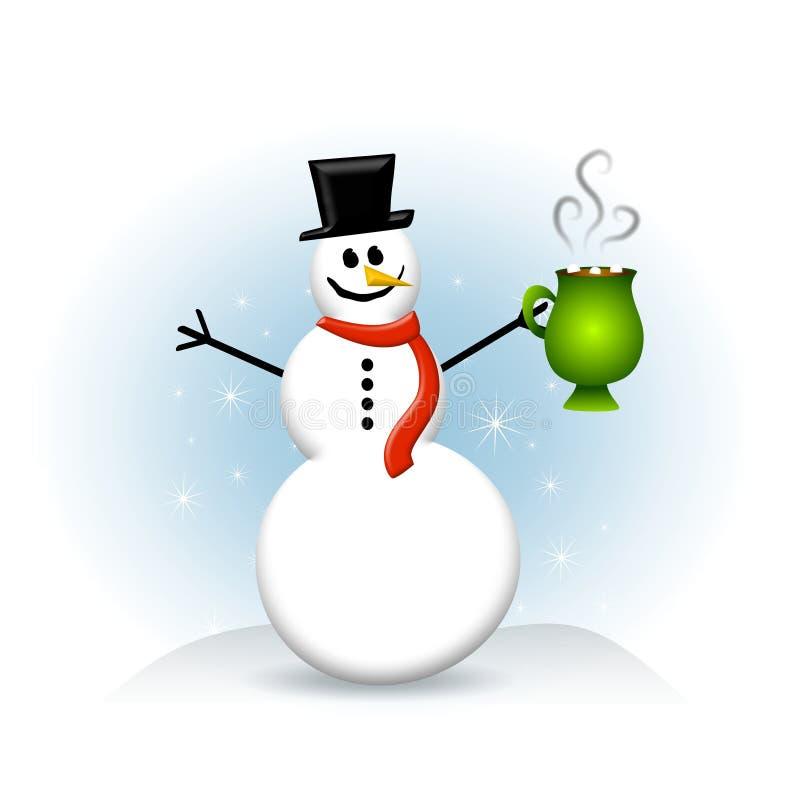 Chocolate quente do boneco de neve ilustração do vetor