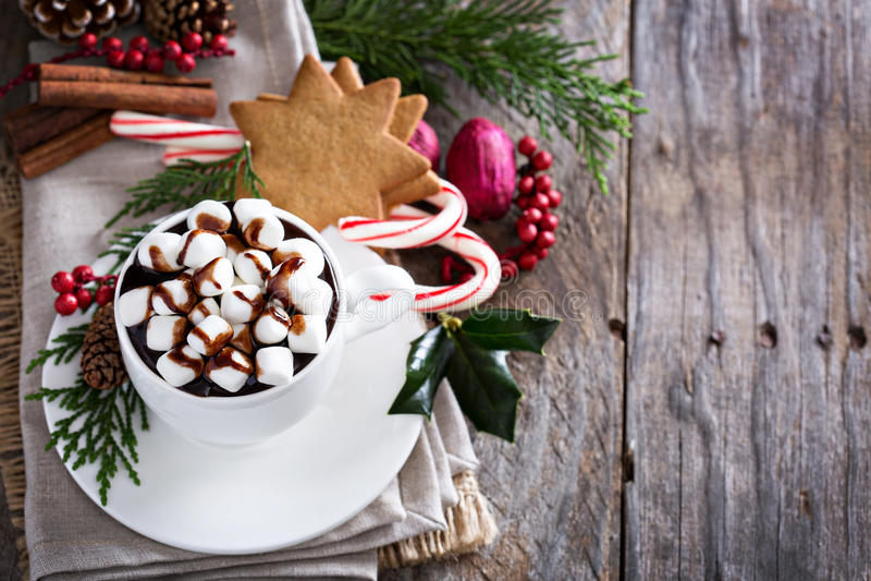 Chocolate quente do Natal com decorações festivas fotos de stock royalty free