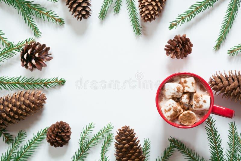 Chocolate quente do Natal com o cone do pinho dos marshmallows e dos ramos de árvore do Natal no branco Vista superior com espaço imagens de stock royalty free