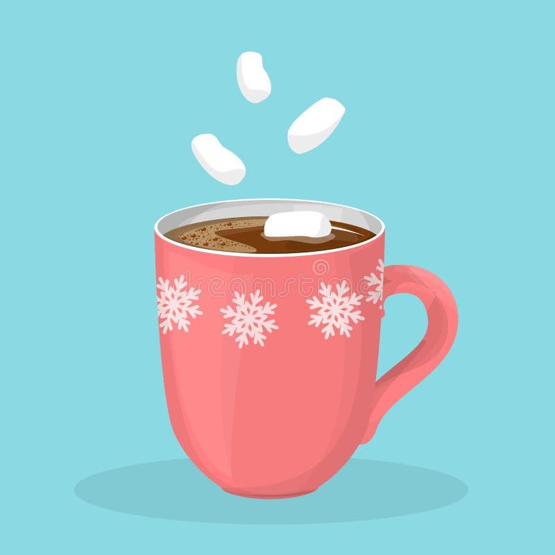 Chocolate quente ou cacau no copo vermelho ilustração do vetor