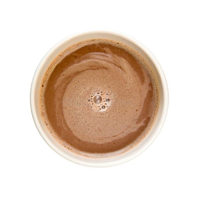 Chocolate quente visto de acima isolado no branco fotografia de stock royalty free